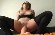 Mature in glasses riding huge dildo