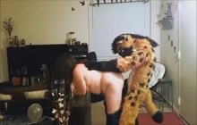 BBW fucked by a man in furry costume