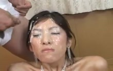 Japanese slut takes a nasty Bukkake