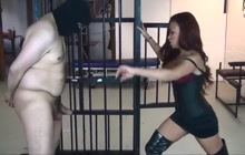 Ballbusting with rage after releasing him from cage