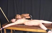 Pleasuring her lesbian slave