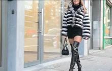Beautiful brunette in a furry coat
