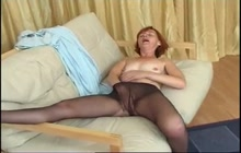 Brunette granny masturbating