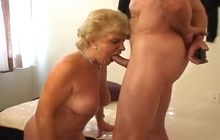 Blonde granny sucking and fucking