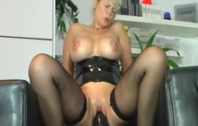MILF stretching her holes with HUGE toys