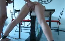 Tied up babe fucked on table