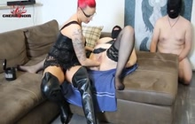 Masked fat bitch gets fisted by Cherie Noir
