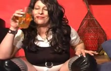 Nasty bitch drinking her own pee